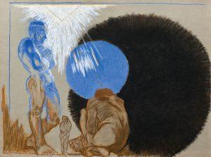 Empedokles u krateru Etny (krąg czerni) pastel, papier 48X64