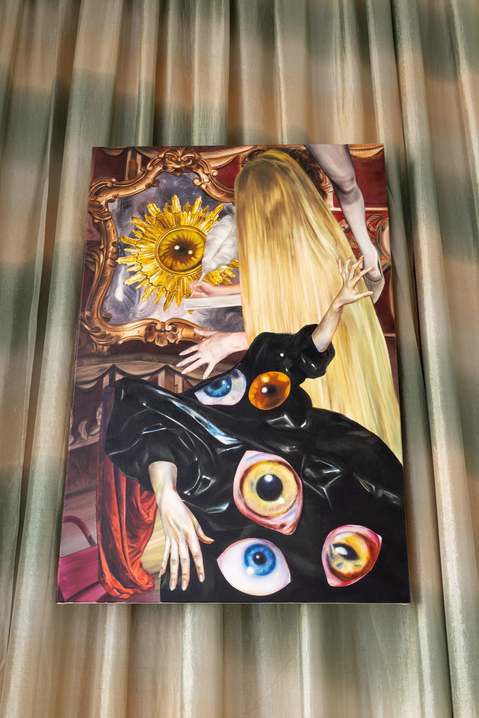 ↑ Martyna Borowiecka,<br> <em>Salon odnowy magicznej</em> – widok wystawy, 2021, <br>Galeria Widna